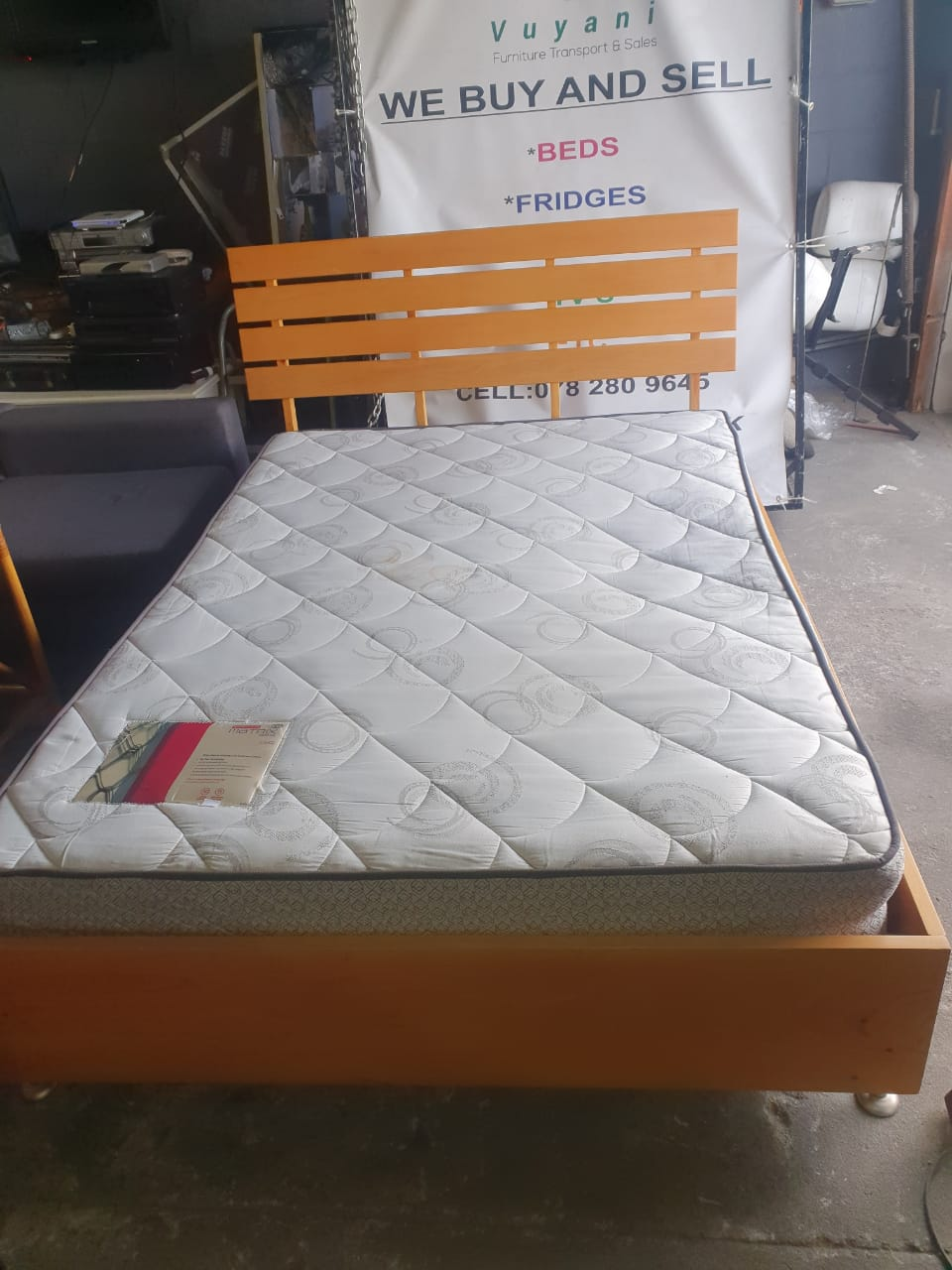 Picture of: Wooden Double Sleigh Bed Vuyani Furniture Transport Sales